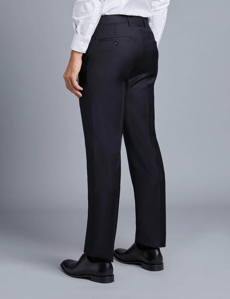 Men's Black Twill Slim Fit Suit Pants