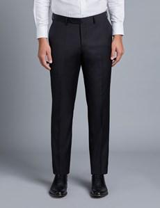 Anzughose - Slim Fit - Twill schwarz - 100s Wolle - Ohne Bundfalte - Vorderhose gefüttert - Ungesäumt