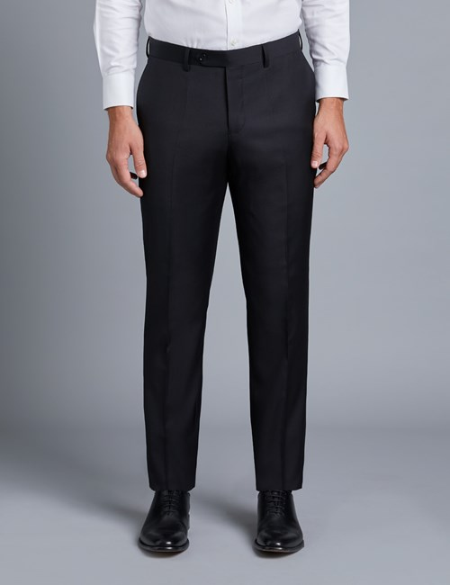 Men's Black Twill Slim Fit Suit Trouser
