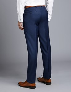 Men's Royal Blue Twill Slim Fit Suit Pants