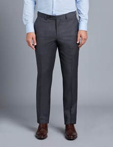 Men's Charcoal Twill Slim Fit Suit Trouser