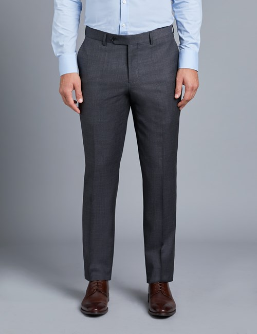 Men's Charcoal Twill Slim Fit Suit Pants