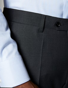 Men's Dark Charcoal Twill Slim Fit Suit Trouser