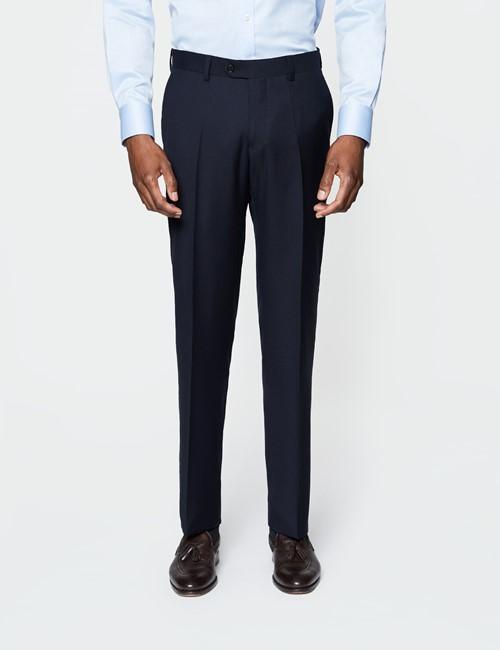 Anzughose - Slim Fit - Dunkelblau  - 100s Wolle - Ohne Bundfalte - Vorderhose gefüttert - Ungesäumt