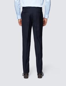 Men's Navy Twill Slim Fit Suit Trouser