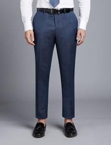 Men's Mid Blue Birdseye Slim Fit Suit Pants