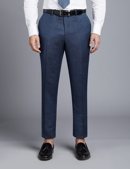 Men's Mid Blue Birdseye Slim Fit Suit Pants