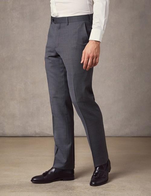 Men's Mid Grey Birdseye Slim Fit Suit Trousers