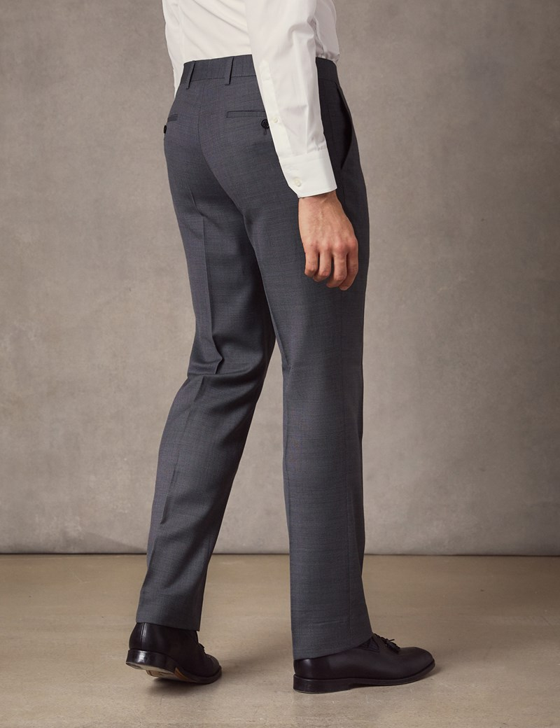 Men's Mid Grey Birdseye Slim Fit Suit Trousers