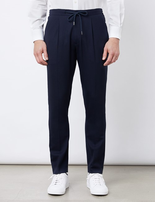 Tapered Pleated Drawstring Wool Blend Pants