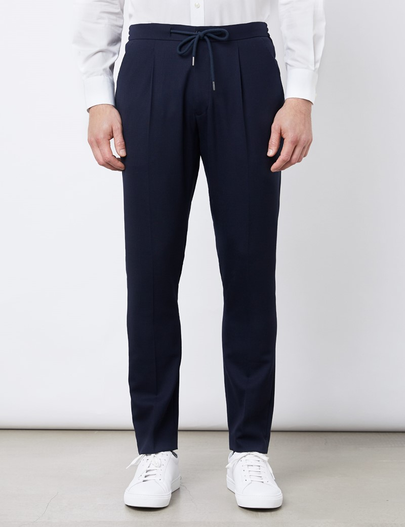Tapered Pleated Drawstring Wool Blend Trousers