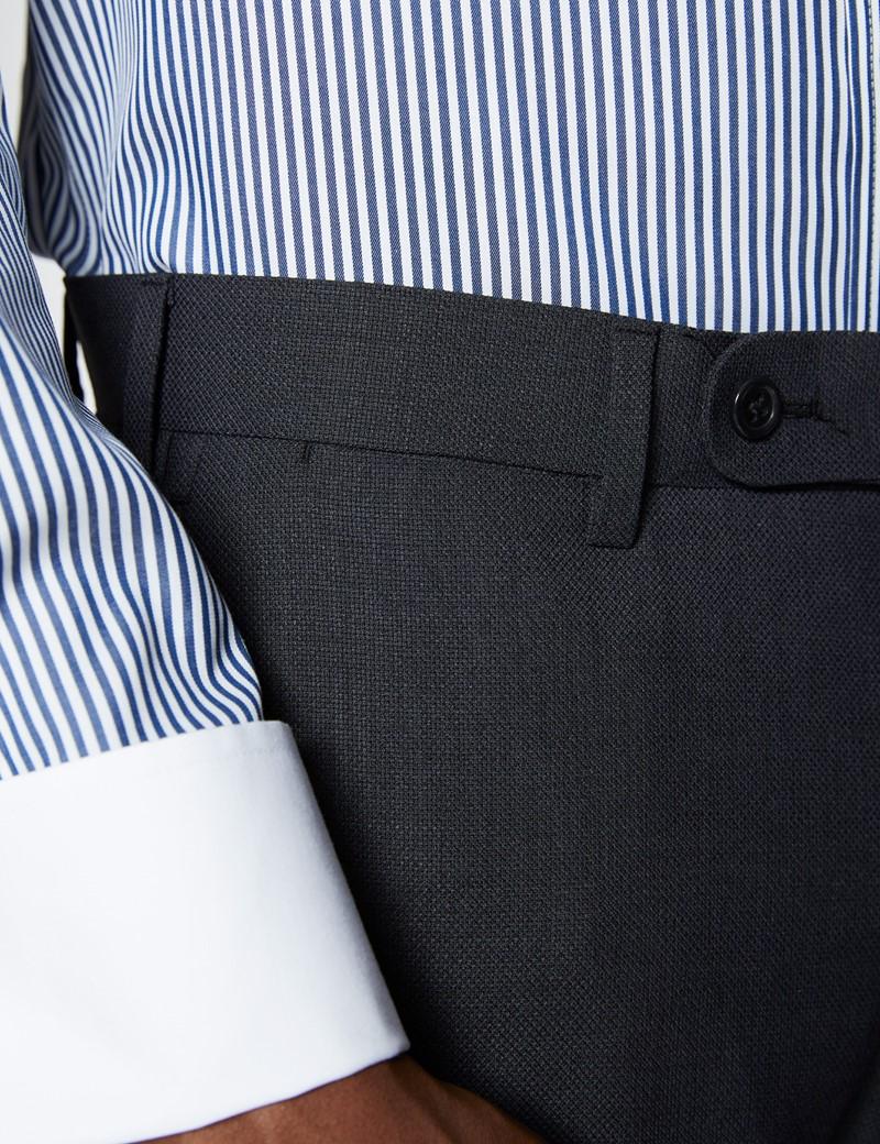 Reise Anzughose - Slim Fit - Dunkelgrau - Schurwollmischgewebe - Ohne Bundfalte - Vorderhose gefüttert - Ungesäumt