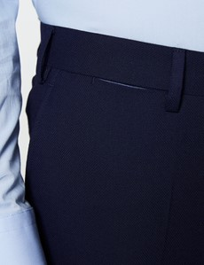 Reise Anzughose - Slim Fit - Marineblau - Schurwollmischgewebe - Ohne Bundfalte - Vorderhose gefüttert - Ungesäumt
