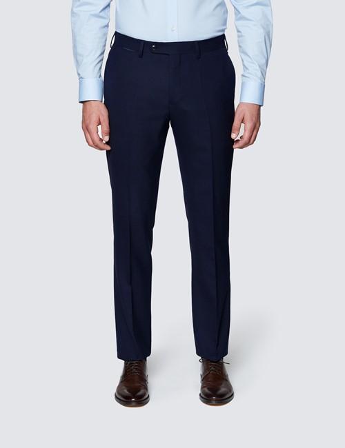Men's Navy Slim Fit Travel Suit Trousers