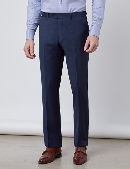 Men's Textured Navy Slim Fit Suit Trousers