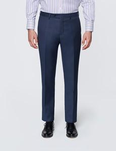 Men's Textured Navy Slim Fit Suit Trousers
