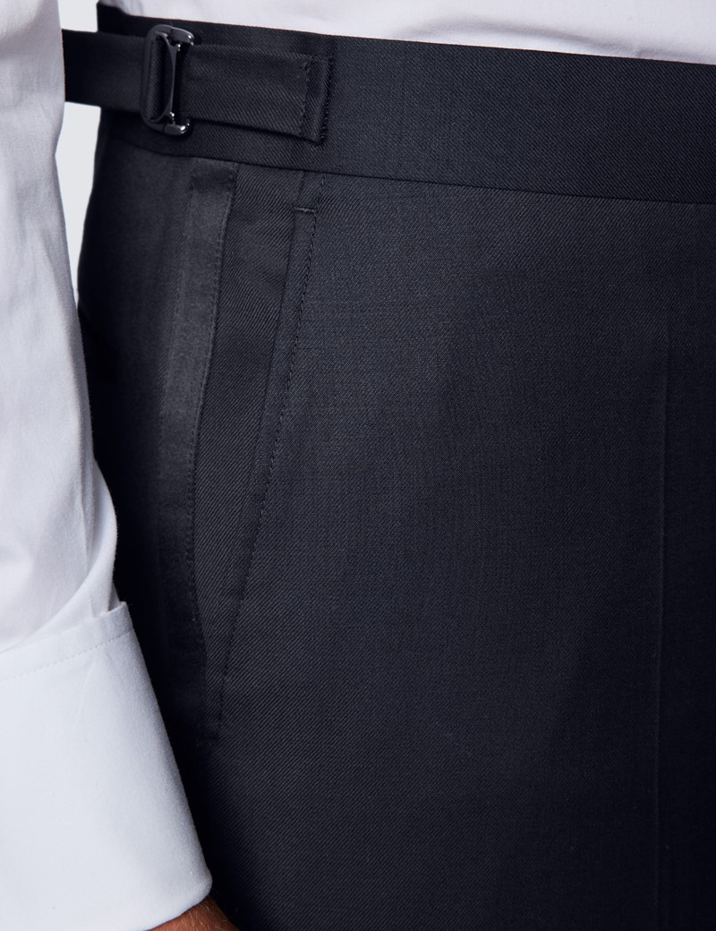Men's Black Slim Fit Dinner Suit Trousers With Side Adjusters