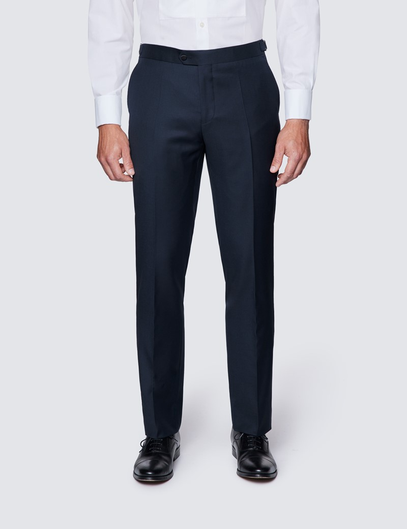 Men's Navy Slim Fit Dinner Suit Trousers With Side Adjusters