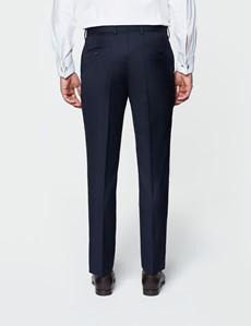 Smokinghose - Slim Fit - Marineblau - 100s Wolle - ohne Bundfalte - Vorderhose gefüttert - ungesäumt