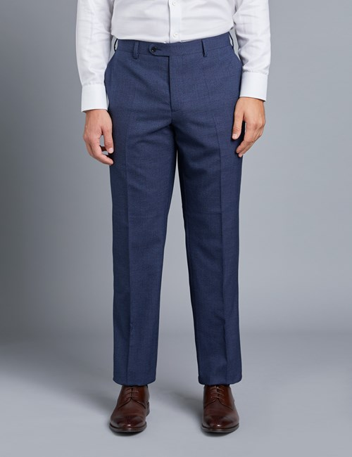 Men's Dark Blue Textured Classic Fit Trousers