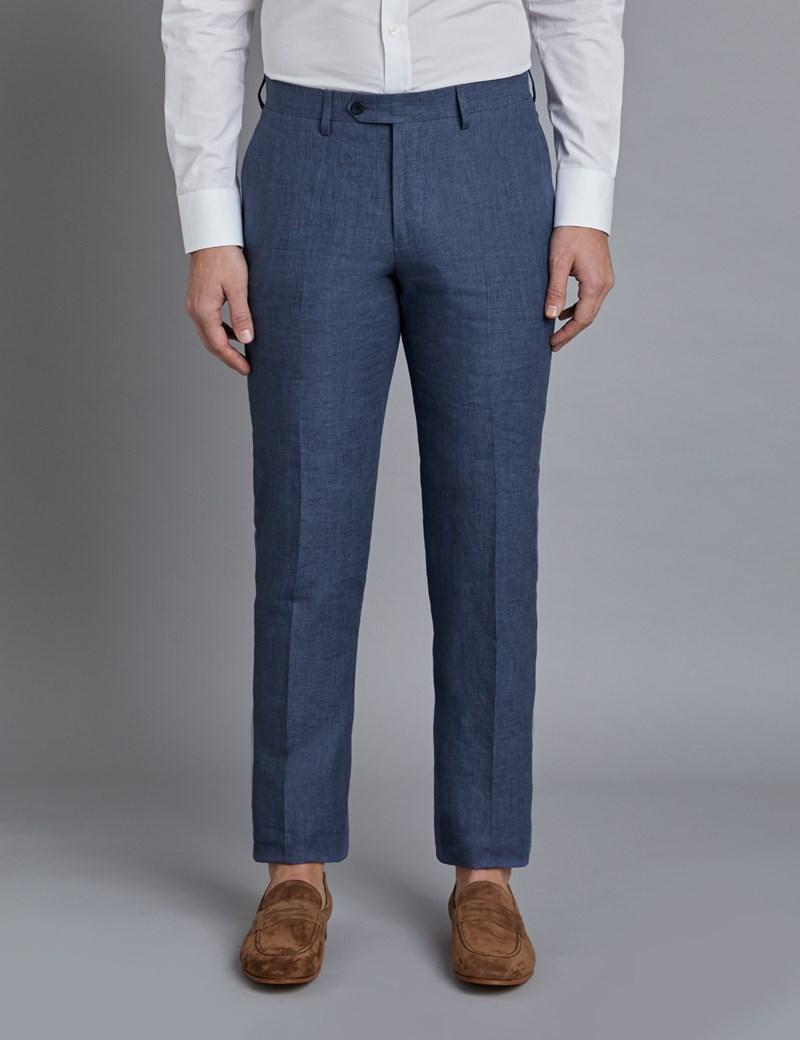 Men's Blue Linen Slim Fit Suit Pants