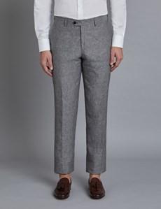 Men's Grey Linen Slim Fit Suit Trousers