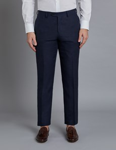 Men's Navy Linen Slim Fit Suit Trousers