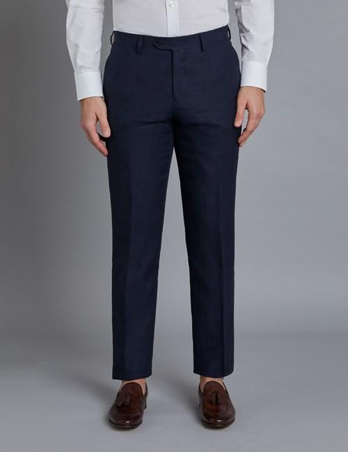 Men's Navy Linen Slim Fit Suit Pants