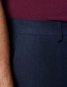 Men's Navy Linen Slim Fit Suit Trousers