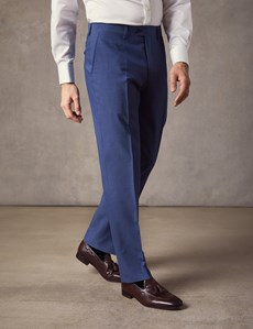 Men's Blue Slim Fit Suit Trousers