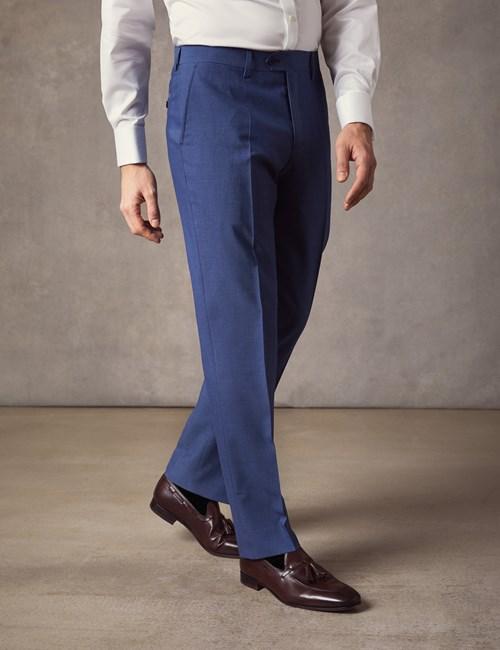 Men's Blue Slim Fit Suit Trousers