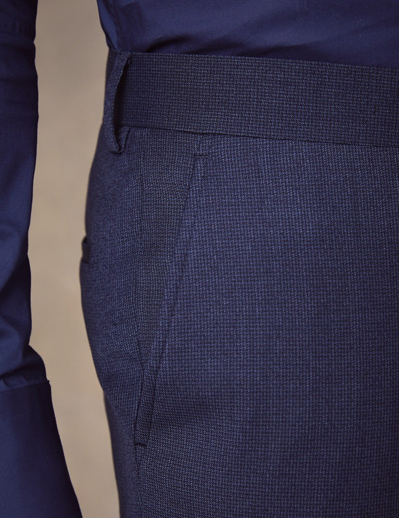 Men's Blue Semi Plain Zigzag Slim Fit Suit Trousers
