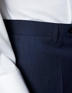 Men's Blue Semi Plain Zigzag Slim Fit Suit Trousers