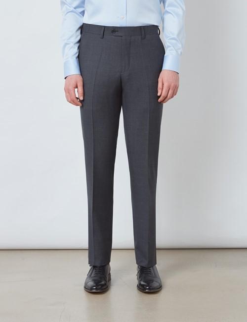Men's Charcoal Plain Slim Fit Suit Trousers