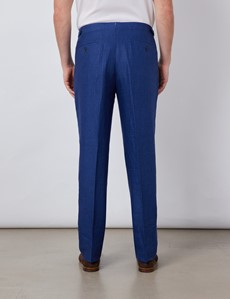 Men's Royal Blue Linen Pleated Tailored Fit Linen Trousers – 1913 Collection