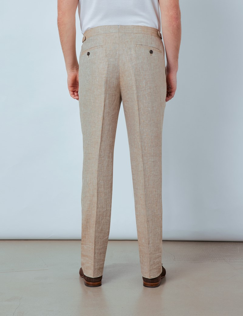 Men's Beige Linen Pleated Tailored Fit Linen Trousers – 1913 Collection