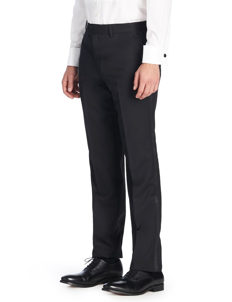 Men's Luxury Black Tailored Fit Italian Dinner Suit Pants - 1913 Collection