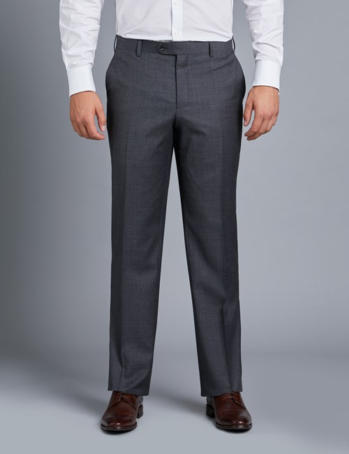 Men's Charcoal Twill Amalfi Classic Fit Suit Trouser