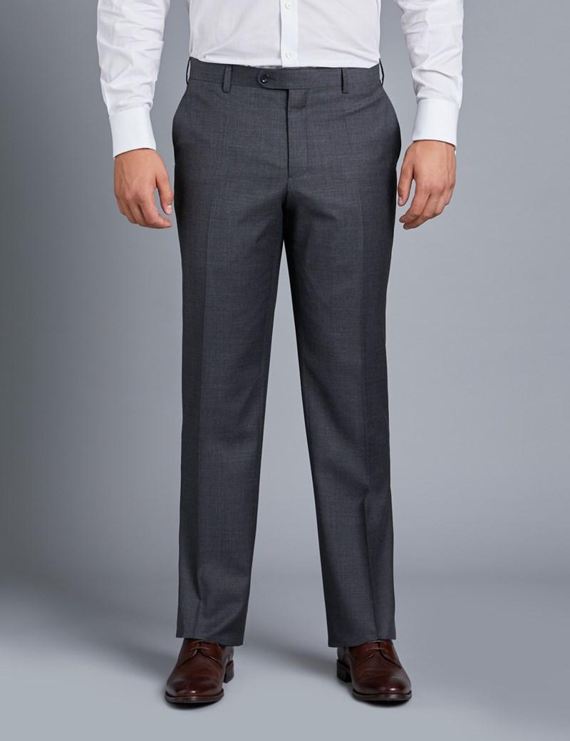 Men's Charcoal Twill Amalfi Classic Fit Suit Trouser
