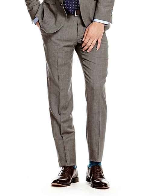 Anzughose - Classic Fit - grau End-on-End - 120s Wolle - ohne Bundfalte - Vorderhose gefüttert - ungesäumt
