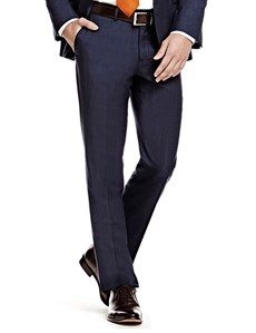 Men's Blue Pin Dot Slim Fit Suit Trouser
