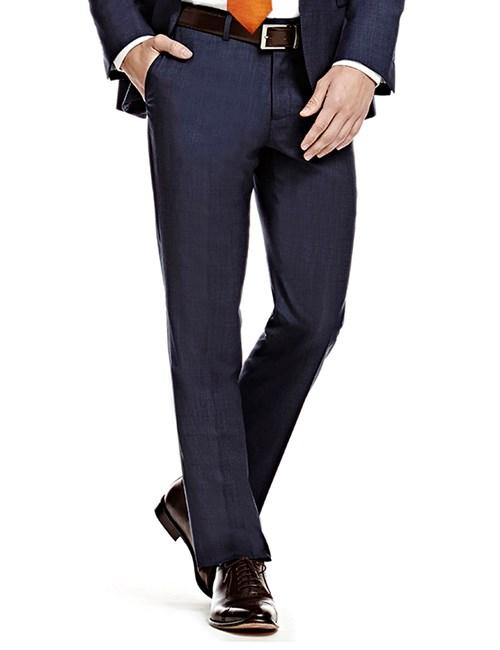 Men's Blue Pin Dot Slim Fit Suit Trouser
