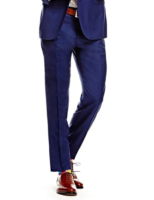 Men's Royal Blue Twill Slim Fit Suit Pants