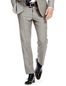 Men's Grey Twill Slim Fit Suit Trouser
