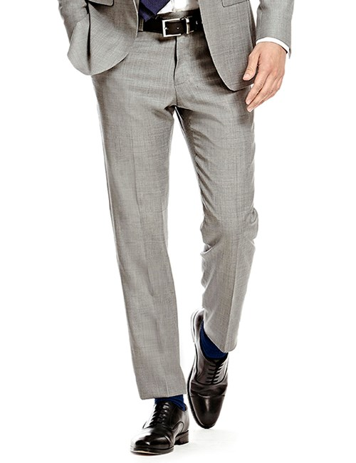 Men's Plain Grey Twill Slim Fit Suit Pants