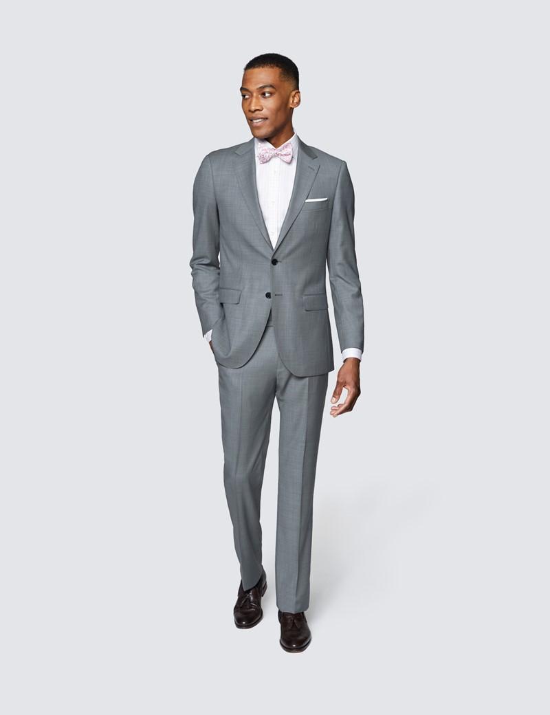 Men's Grey Twill Slim Fit Suit Trouser