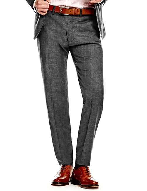 Men's Charcoal Twill Slim Fit Suit Trousers