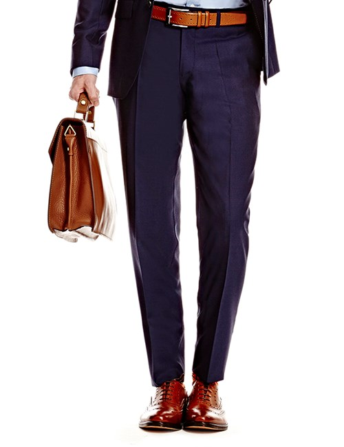 Men's Dark Navy Twill Slim Fit Suit Trouser