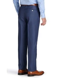 Men's Mid Blue Pique Tailored Fit Italian Suit Trousers - 1913 Collection