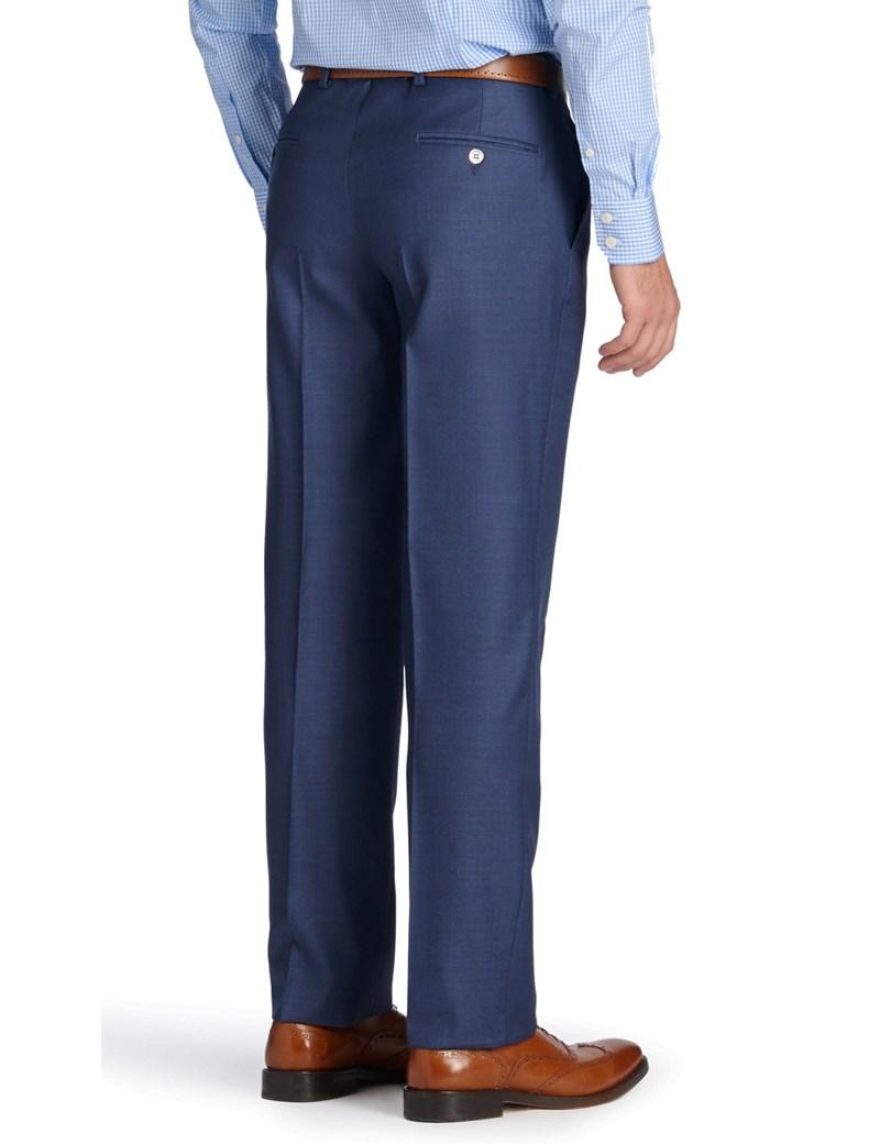 Anzughose - Slim Fit - blau Piquée - 140s Wolle - ohne Bundfalte - Vorderhose gefüttert - ungesäumt